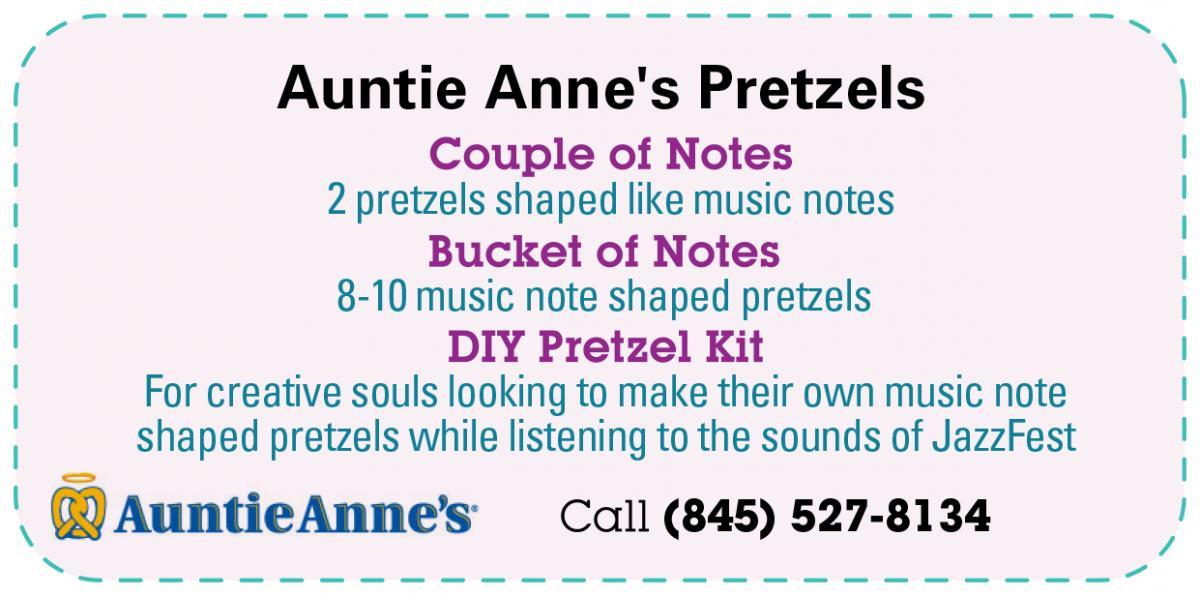 "Auntie Anne's Pretzels - ""Couple of Notes"" 2 pretzels shaped like music notes, ""Bucket of Notes"" 8-10 music note shaped pretzels, DIY Pretzel Kit - For creative souls looking to make their own music note shaped pretzels while listening to the sounds of JazzFest. Call (914) 778-9588"